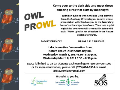 owl prowl 2017 - Lake Laurentian Conservation Area