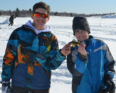 boys-big-fish Lake Laurentian Conservation Area - Family Ice fishing Day