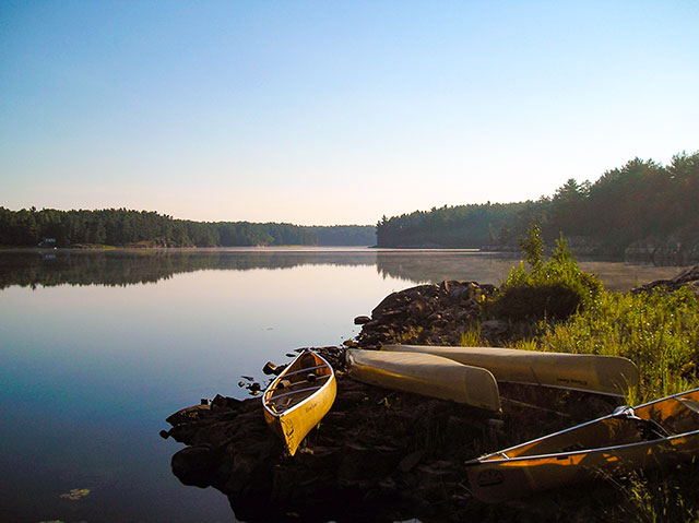 canoes at Lake Laurentian - Conservation Sudbury